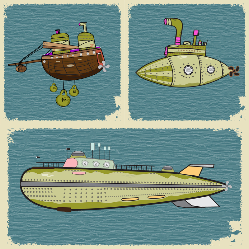 http://www.dreamstime.com/stock-images-submarines-three-frame-background-image40288724